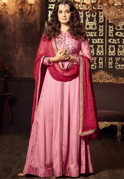 Dia Mirza Rose color georgette Lehenga kameez 45003