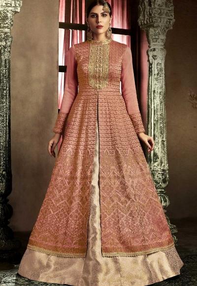 Rust color slub silk wedding lehenga kameez 11061