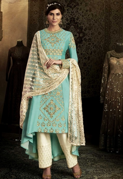 Firozi color trail back wedding salwar 11062