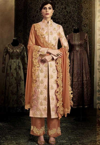 Rust color silk wedding salwar kameez 11064