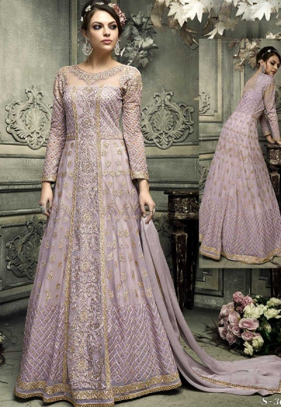Lavender color heavy work wedding anarkali S305