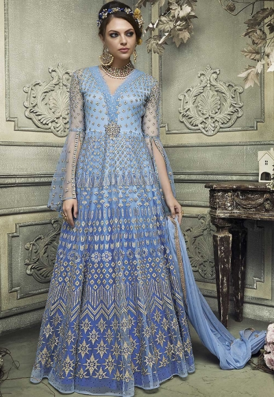 Blue color heavy work wedding anarkali S307