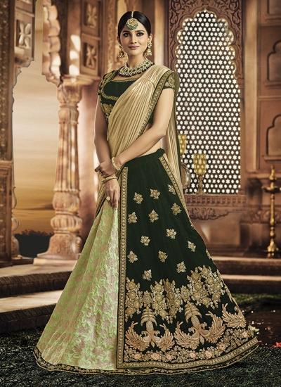 Dark green and green jacquard silk wedding lehenga
