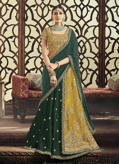 Dark green and mustuard yellow tafetta silk wedding lehenga