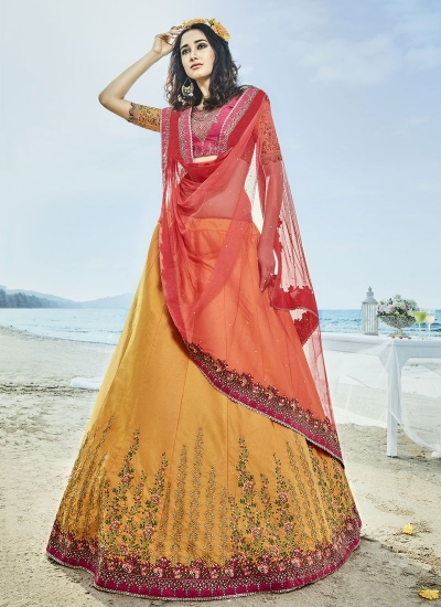 Mustuard yellow and pink silk wedding lehenga