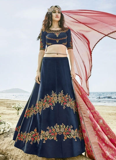 Blue and pink silk wedding lehenga