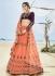 Peach and wine color silk wedding lehenga