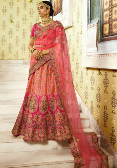 Pink color shaded silk bridal lehenga