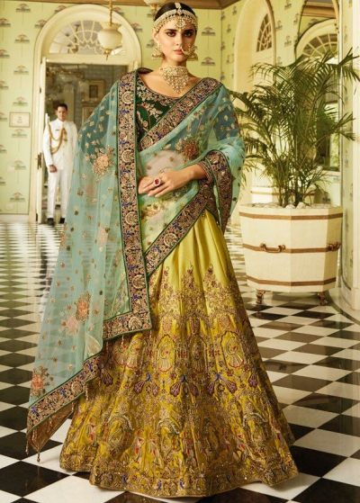 Mustuard green dark green and sea green bridal lehenga choli