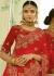 Beige and red color silk bridal lehenga choli