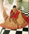 Beige and red color silk bridal lehenga choli