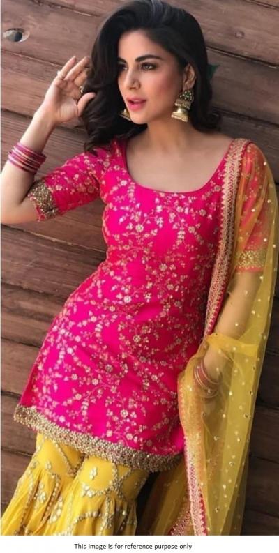 Pink and yellow tabby silk wedding sharara