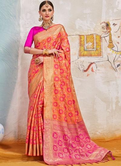 Peach and pink Indian Silk wedding wear saree