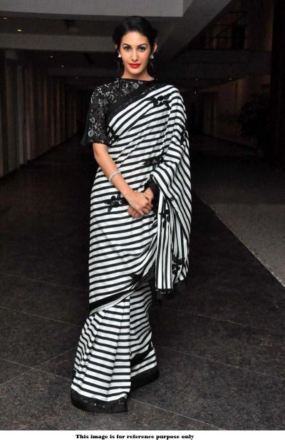 Bollywood Amyra Dastur White and Black Georgette Saree