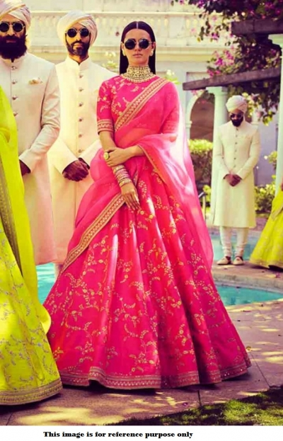 Bollywood Sabyasachi Mukherjee Inspired silk Pink lehenga
