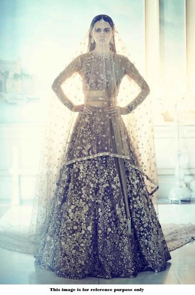 Bollywood Sabyasachi Mukherjee Inspired Satin silk Mocha lehenga