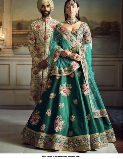 Bollywood Sabyasachi Mukherjee Inspired  silk Teal Greenlehenga