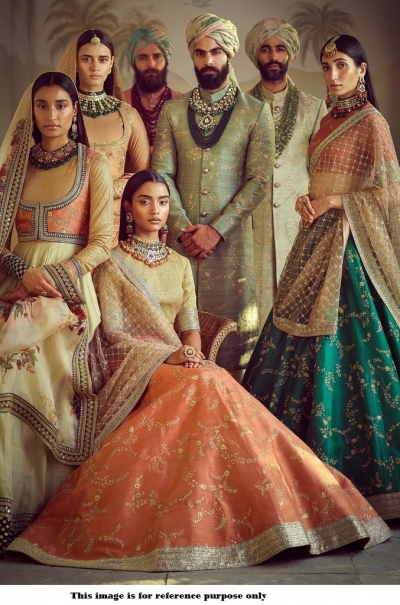 Bollywood Sabyasachi Mukherjee Inspired art silk orange lehenga