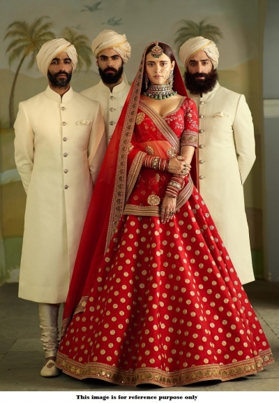 Bollywood Sabyasachi Mukherjee Inspired Banarasi silk red wedding lehenga