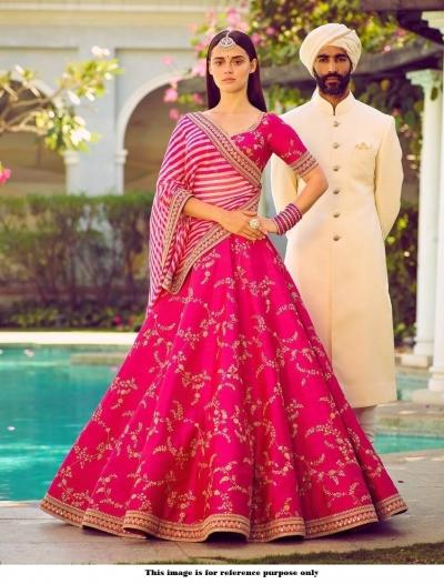 Bollywood Sabyasachi Mukherjee Inspired Malai satin Pink lehenga
