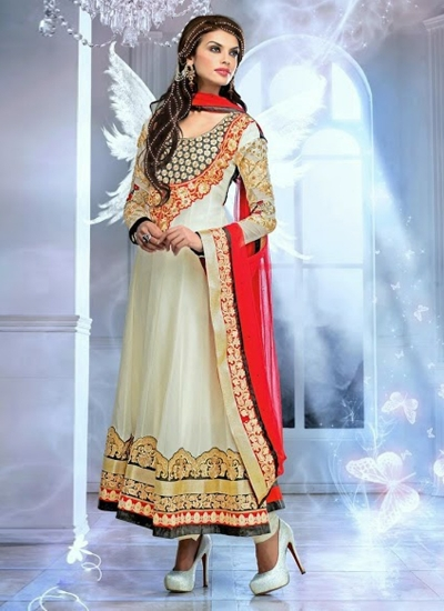 VIBRANT LACE AND STONES WORK WHITE COLOUR GEORGETTE DESIGNER SUIT