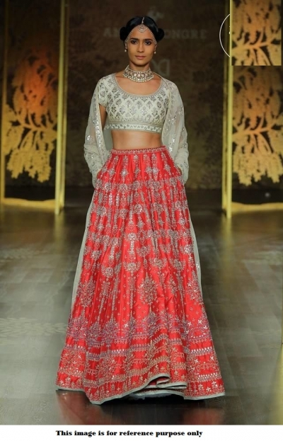 Bollywood Anita Dongre Inspired Red and white Satin lehenga