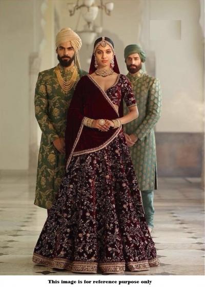 Bollywood Sabyasachi Mukherjee Inspired velvet Maroon lehenga