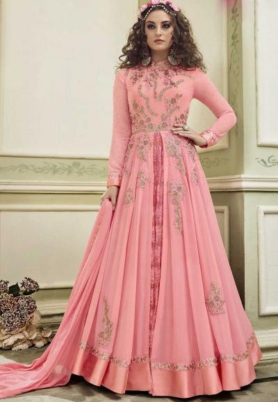 Light Pink color georgette wedding anarkali suit
