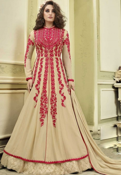 Beige color wedding anarkali suit