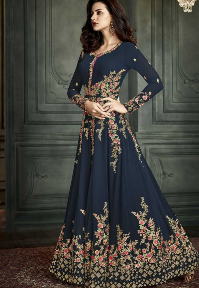 Blue color georgette  wedding anarkali suit