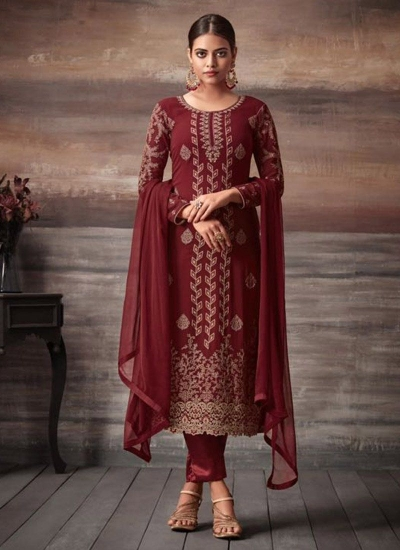 Maroon color georgette straight cut salwar kameez 48001