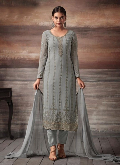 Grey color georgette straight cut salwar kameez 48002