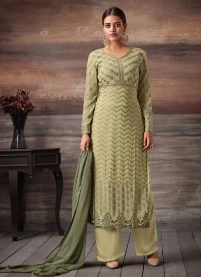 Green color georgette straight cut salwar kameez 48003
