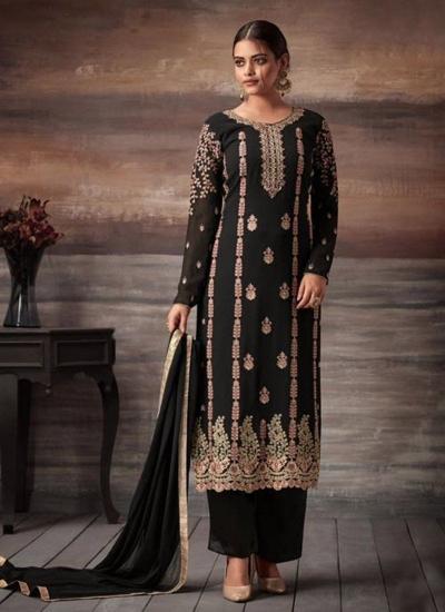 Black color georgette straight cut salwar kameez 48004