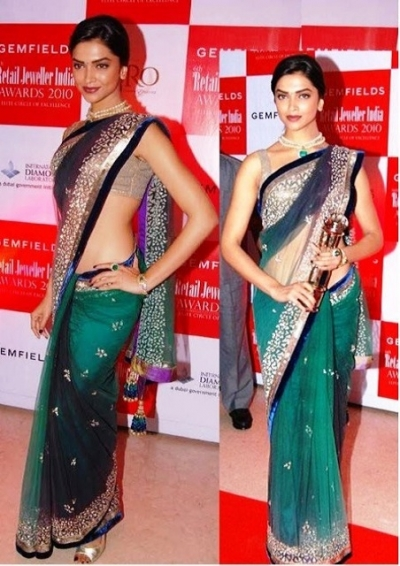 Deepika padukone at The 6th Retail Jeweller India Awards Saree