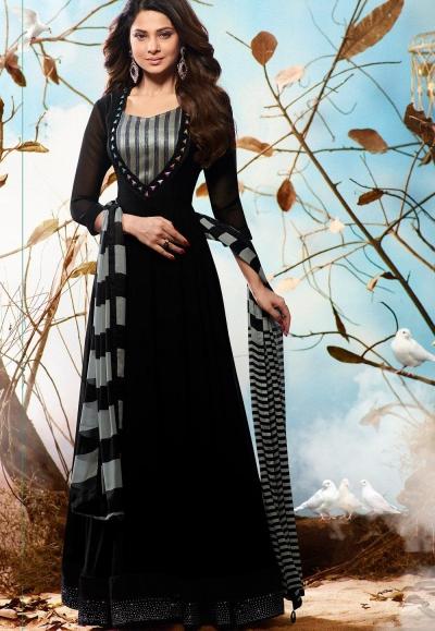 Jennifer Winget Black georgette party wear anarkali 1123