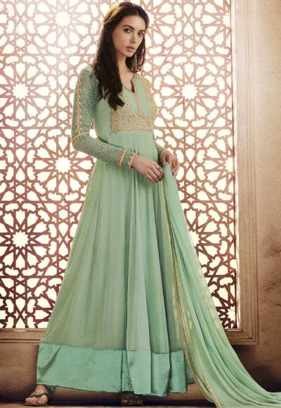 Green georgette straight cut salwar 1040B