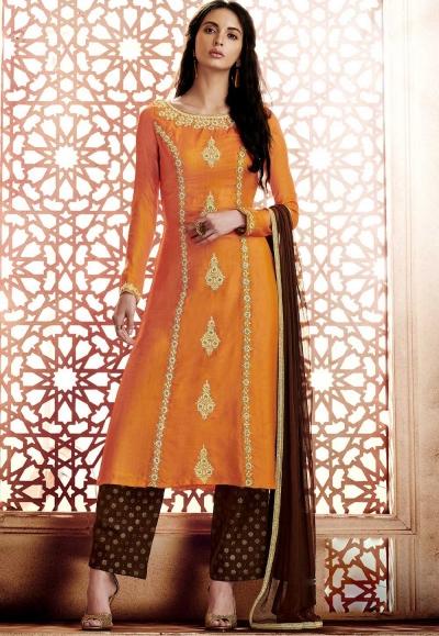 Orange georgette straight cut salwar 1042A