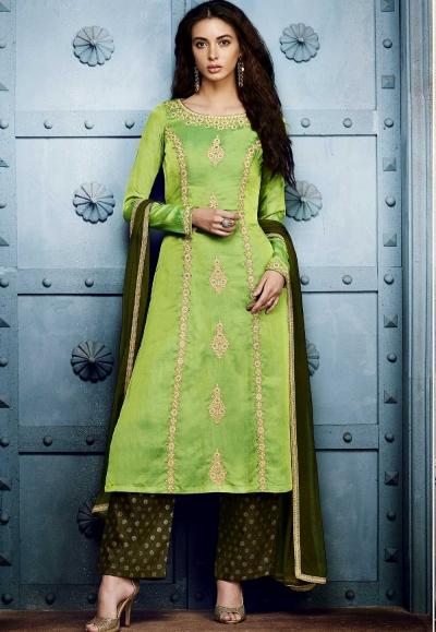 Parrot green georgette straight cut salwar 1042B
