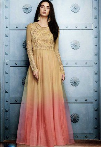 Beige pink shaded georgette straight cut salwar 1043A
