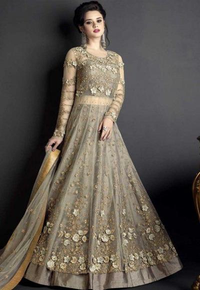 Grey net wedding ghagra choli style 10001
