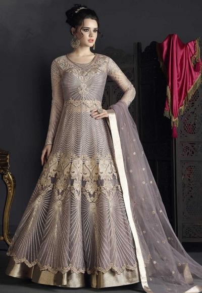 Dusty net wedding ghagra choli style 10003