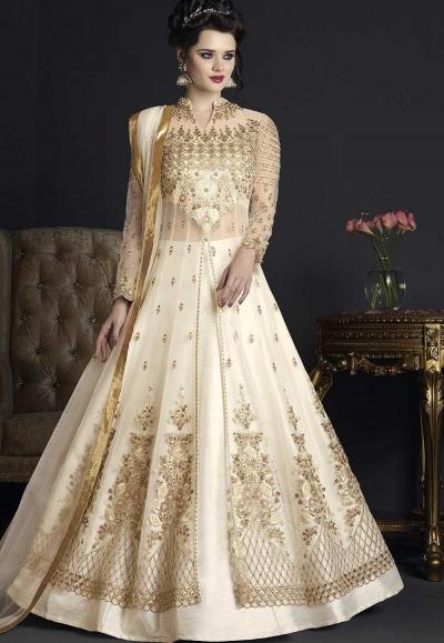 Off white net wedding ghagra choli style 10004