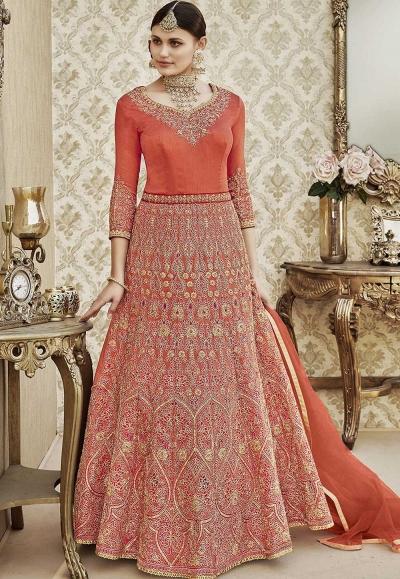 Peach thapa silk wedding wear anarkali 4406