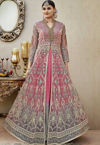 Pink net wedding lehenga kameez 4409