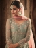 Pastel green and peach net color wedding anarkali
