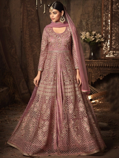 Pink color net wedding anarkali