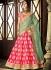 Pink and green dhupion silk wedding lehenga