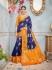 Blue and yellow banarasi silk wedding saree