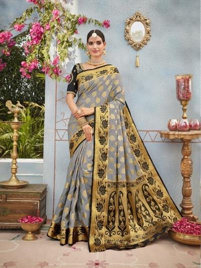 Grey and black banarasi silk wedding saree